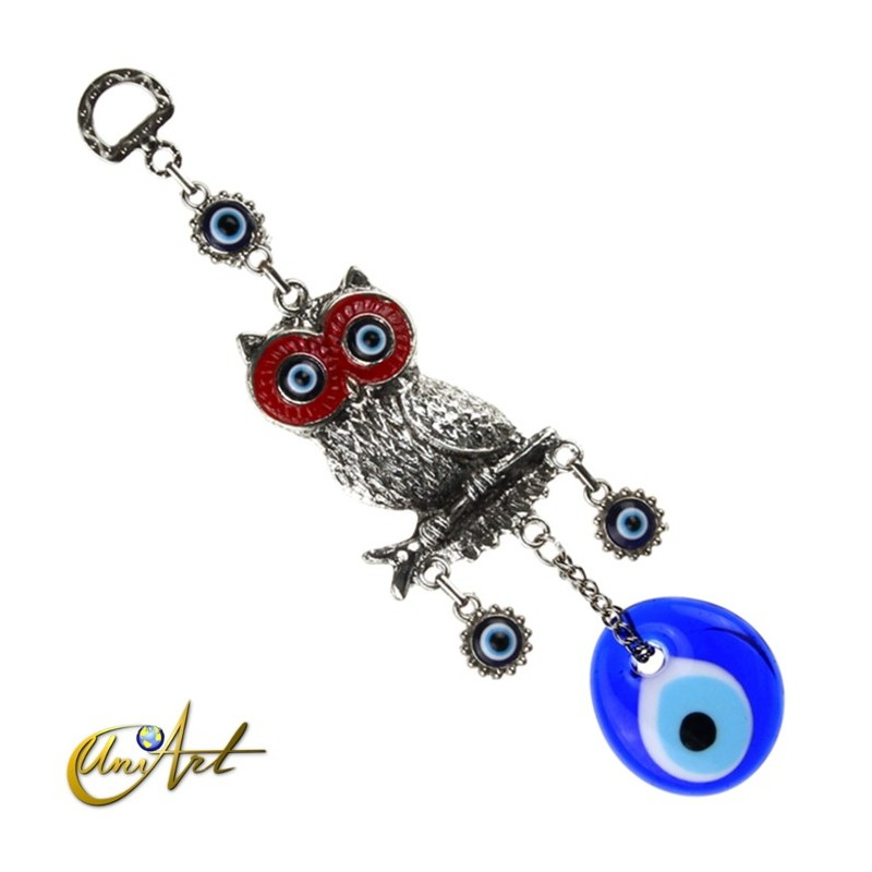 Owl with Turkish evil eye, talisman - red