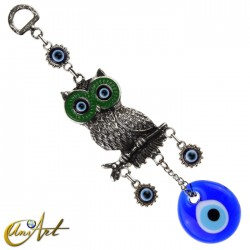 Owl with Turkish evil eye, talisman - green