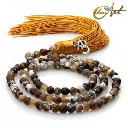 Grizzly Agate tibetan Buddhist Mala 6 mm Beads