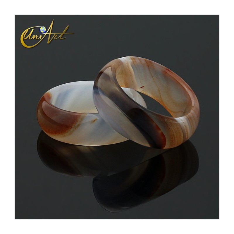 Banded agate ring, wide