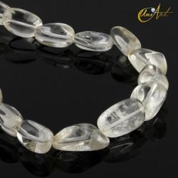 Crystal quartz beads in tumbled stones.