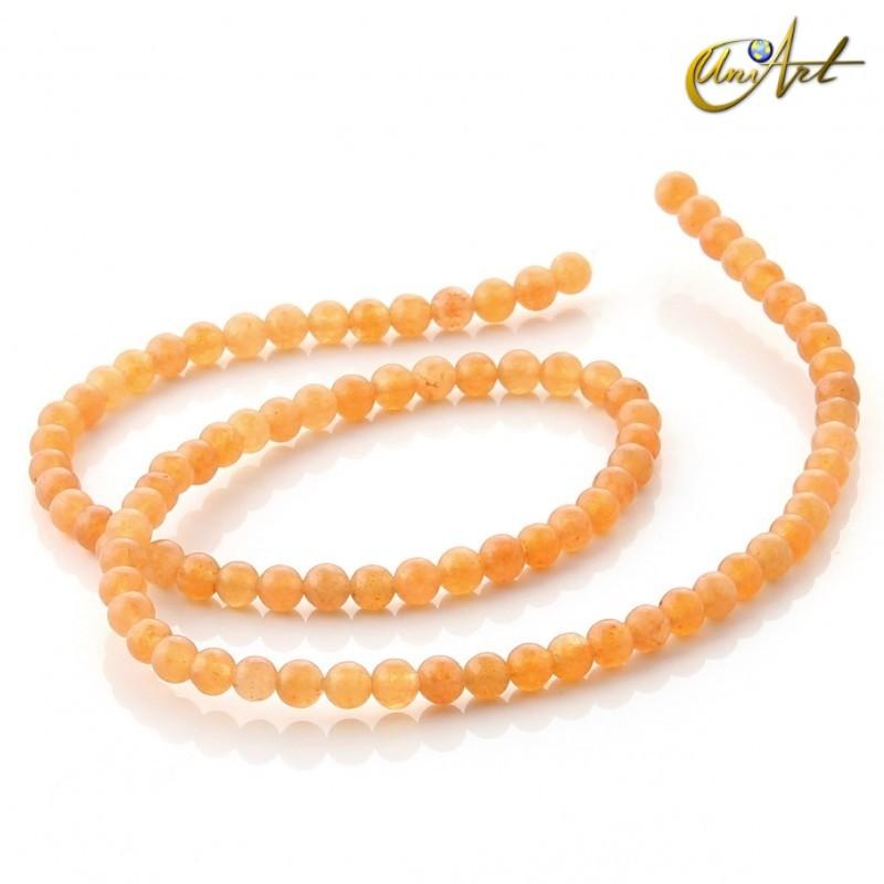 Aventurina naranja - tiras de cuentas 4 mm