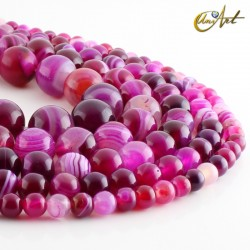 Pink agate, strips of beads