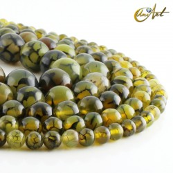 Green dragon agate beads in strands