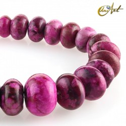 Rondelle beads of crazy pink agate