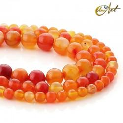 Round orange agate beads