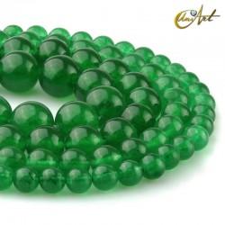Round green jade beads