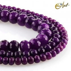 Purple jade carved in faceted rondelle