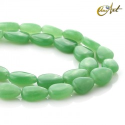 Pear shaped green jade beads