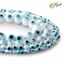 White turkish eye on beads